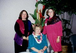 1995 RWA Conference, Hawaii, after the Awards Ceremony.  Judy Roemerman, Roxanne, and inspirational author Lyn Cote
