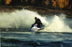 Andytaking it slow and easy on the Jet Ski